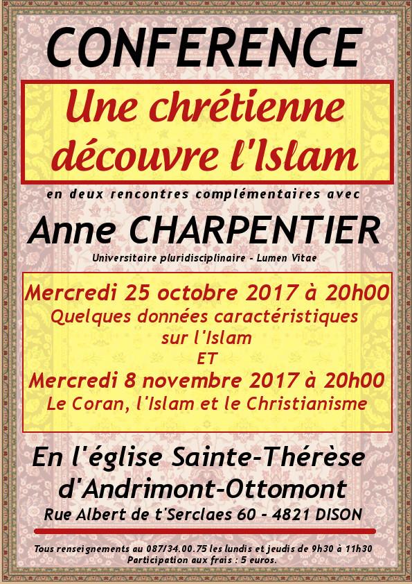 Conférence «Une chrétienne découvre l'Islam» @ Eglise Sainte Thérèse d'Andrimont-Ottomont