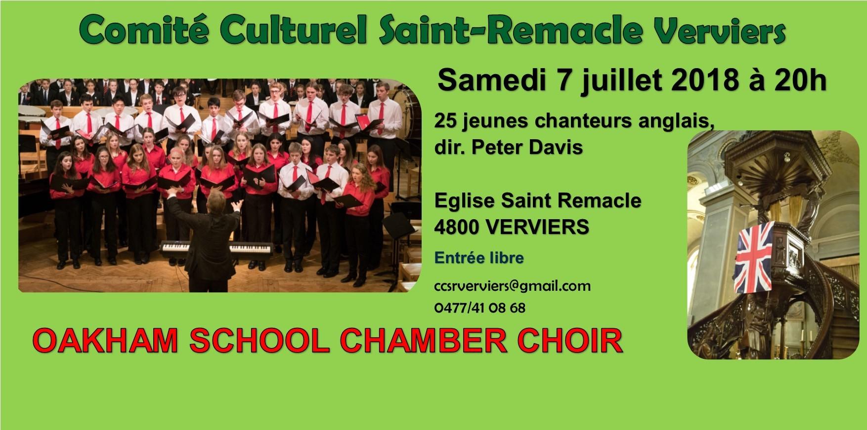 Concert de 25 jeunes chanteurs anglais avec orgue @ Saint Remacle