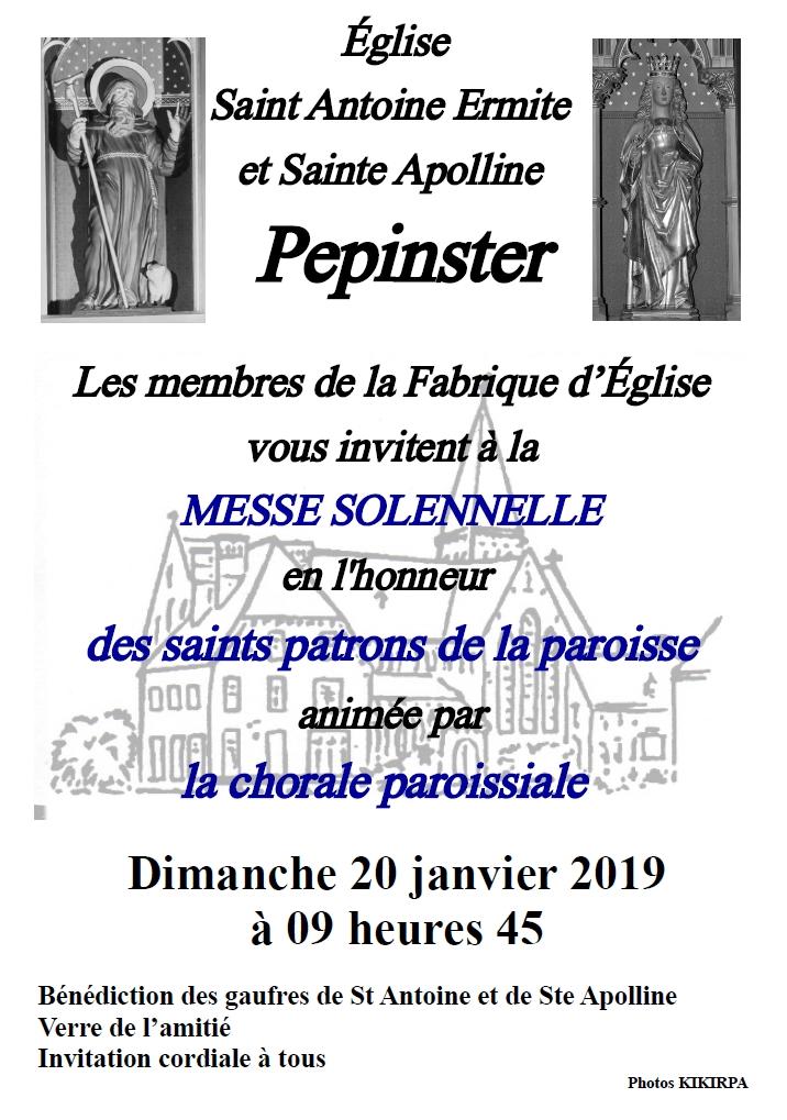 Messe solennelle pour Ste Apolline @ Eglise de Pepinster | Pepinster | Wallonie | Belgique