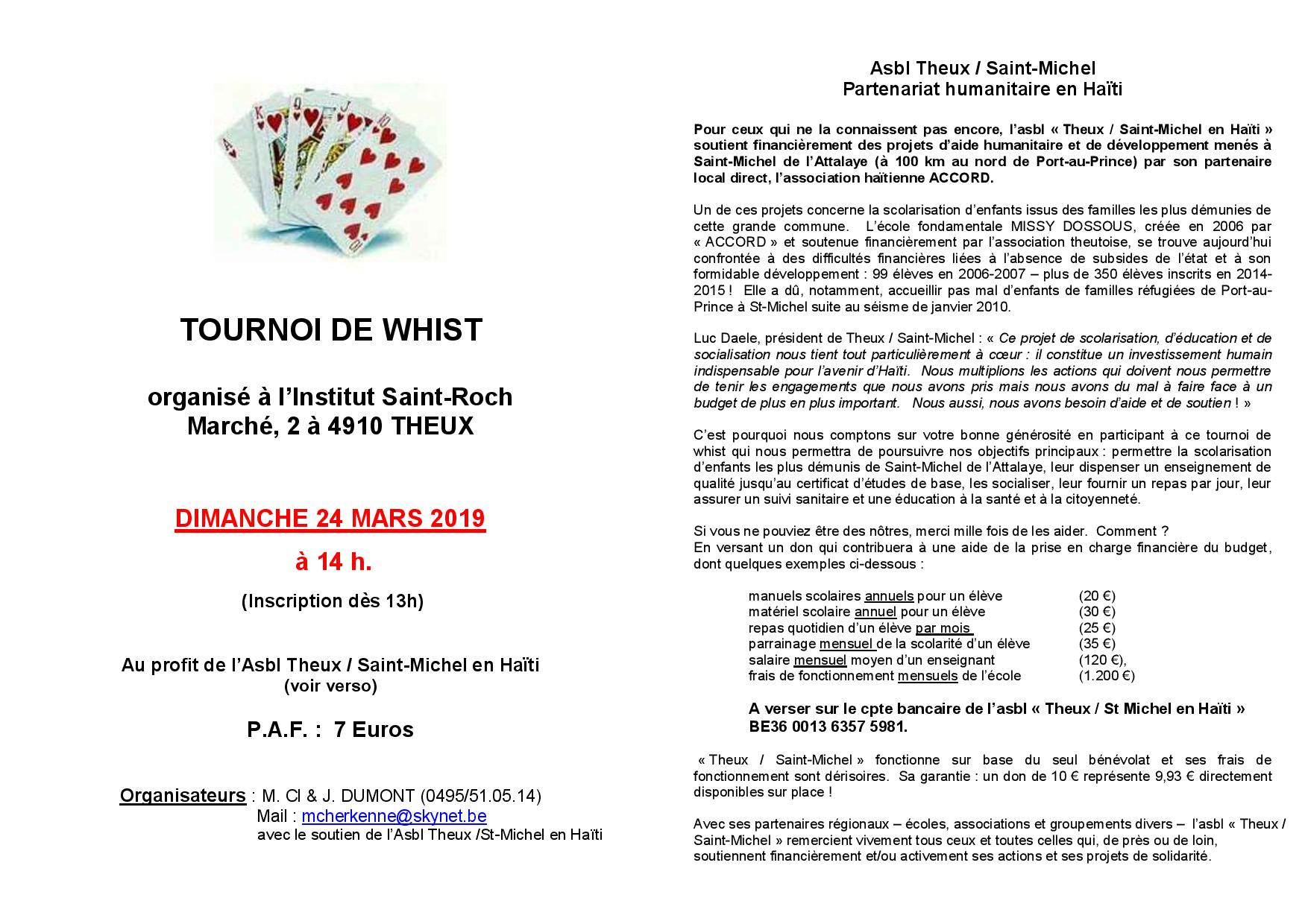 Tournoi de Whist @ Institut Saint-Roch | Theux | Wallonie | Belgique