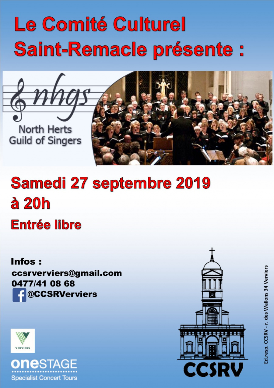 "Concert des ""North Hertfordshire Guild of Singers"" @ Eglise Saint Remacle"