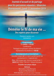 Journée pour les personnes séparées / divorcées @ Monastère de Wavreumont | Malmedy | Wallonie | Belgique